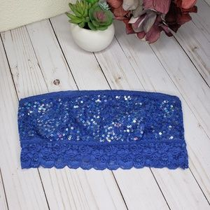 Victoria's Secret PINK Blue Sequin Lace Bandeau